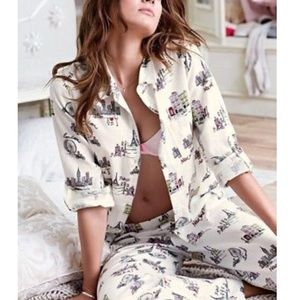 Victoria's Secret White City Pajama Set Medium